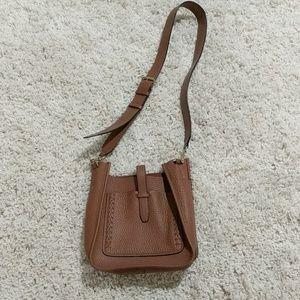 Rebecca Minkoff mini brown whipstitch feed bag